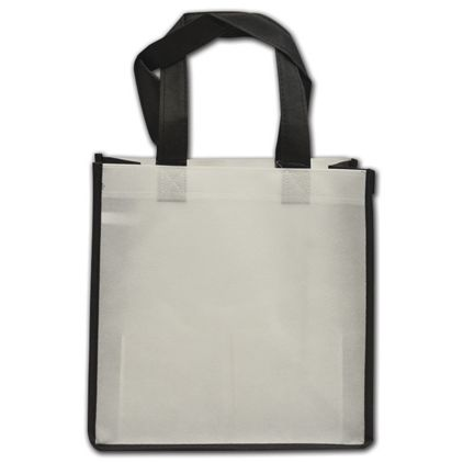 """Black and White Non-Woven Shoppers, 10 x 5 x 10"""""""