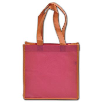 """Orange and Pink Non-Woven Shoppers, 10 x 5 x 10"""""""