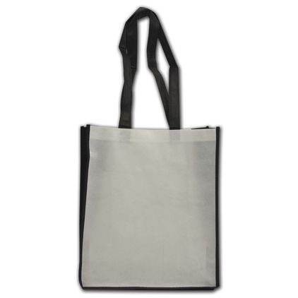 """Black and White Non-Woven Shoppers, 13 x 6 x 15"""""""