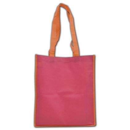 """Orange and Pink Non-Woven Shoppers, 13 x 6 x 15"""""""