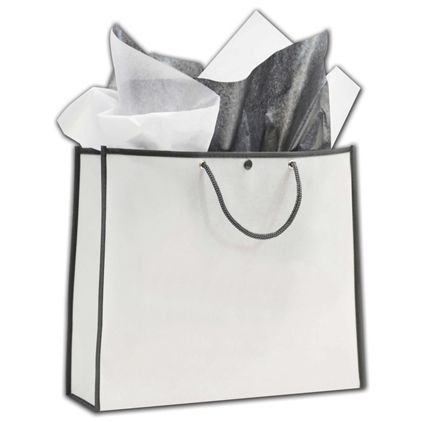 """White/Grey Euro-Style Non-Woven Bags, 14 x 4 1/2 x 12"""""""