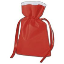 """Red Non-Woven Pouches, 7 x 10"""" + 3"""" Bottom Gusset"""