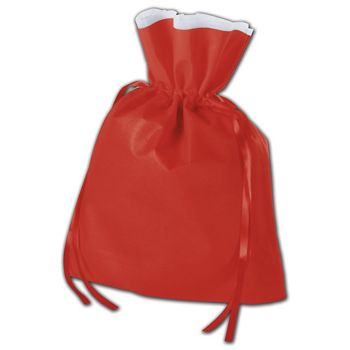 """Red Non-Woven Pouches, 12 x 16"""" + 4"""" Bottom Gusset"""