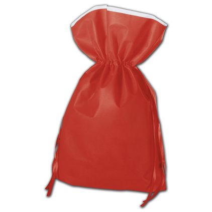 """Red Non-Woven Pouches, 16 x 22"""" + 5"""" Bottom Gusset"""