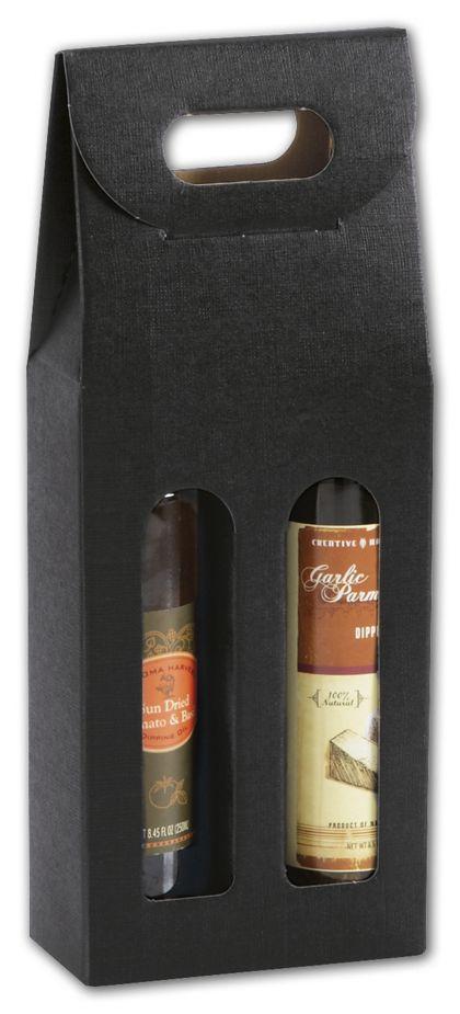 "Black 2 Bottle Olive Oil Carriers, 5 1/8 x 2 1/2 x 13 1/4"""