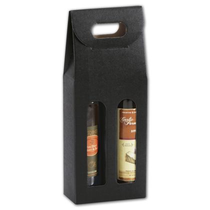 Black 2 Bottle Olive Oil Carriers, 5 1/8 x 2 1/2 x 13 1/4""