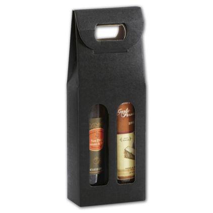 "Black 2 Bottle Olive Oil Carriers, 4 1/4x2 1/8x12"""