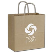 """Printed Recycled Kraft Paper Shoppers Emerald 10x5x10 1/2"""""""