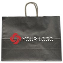 """Printed Anthracite Metallic Tinted Shoppers, 16x6x12 1/2"""""""