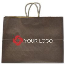 """Printed Brown Color-on-Kraft Shoppers, 16 x 6 x 12 1/2"""""""