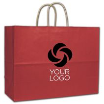 """Printed Red Varnish Stripe Shoppers, 16x6x12 1/2"""""""