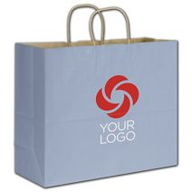 """Printed French Blue Varnish Stripe Shoppers, 16x6x12 1/2"""""""