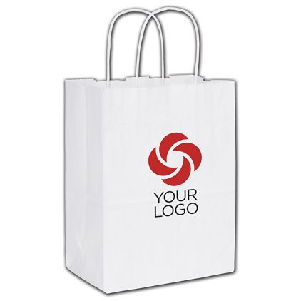 Printed Recycled White Kraft Paper Shoppers Cub