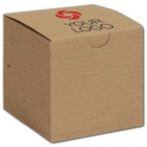 """Printed Kraft One-Piece Gift Boxes, 3 x 3 x 3"""""""