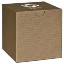 """Printed Kraft One-Piece Gift Boxes, 4x4x4"""""""