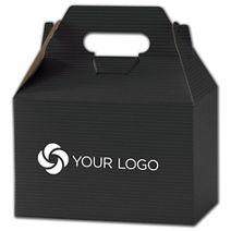 "Printed Black Varnish Striped Gable Boxes, 8x4 7/8x5 1/4"""