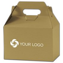 """Printed Gold Varnish Striped Gable Boxes, 8x4 7/8x5 1/4"""""""