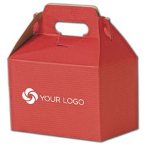 """Printed Red Varnish Striped Gable Boxes, 8x4 7/8x5 1/4"""""""