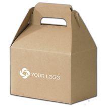 "Printed Kraft Varnish Striped Gable Boxes, 8x4 7/8x5 1/4"""