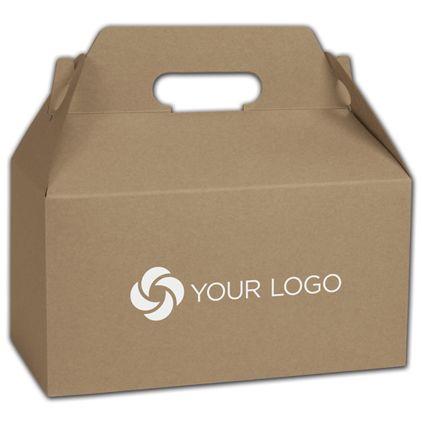 "Printed Kraft Varnish Striped Gable Boxes, 9 1/2 x 5 x 5"""