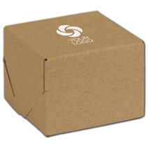 """Printed Natural Kraft Two-Piece Expandable Boxes, 4x4x3"""""""