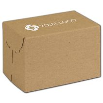 """Printed Natural Kraft Two-Piece Expandable Boxes, 6x4x4"""""""