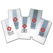 """Printed Clear Frosted Poly Gift Bags, 4 x 2 1/2 x 9 3/4"""""""