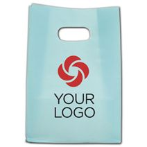 """Printed Aqua Frosted Die-Cut Shoppers, 7 x 3 1/2 x 10 1/2"""""""