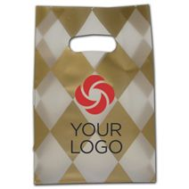 """Printed Harlequin Frosted Die-Cut Shoppers 7x3 1/2x10 1/2"""""""