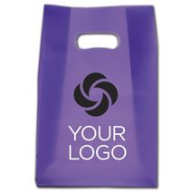 """Printed Purple Frosted Die-Cut Shoppers, 7x3 1/2x10 1/2"""""""
