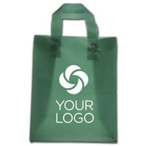 """Printed Evergreen Frosted Flex-Loop Shoppers, 8 x 5 x 10"""""""
