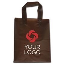 """Printed Espresso Frosted Flex-Loop Shoppers, 8 x 5 x 10"""""""