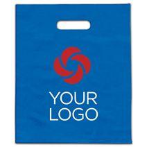 """Printed Ocean Blue Frosted Die-Cut Merchandise Bags, 9x12"""""""