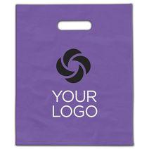 "Printed Purple Frosted Die-Cut Merchandise Bags, 9 x 12"""