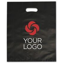 "Printed Black Frosted Die-Cut Merchandise Bags, 12 x 15"""