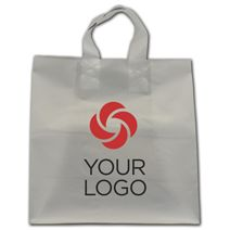 """Printed Clear Frosted Flex-Loop Shoppers, 13 x 7 x 13"""""""