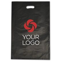 """Printed Black Frosted Die-Cut Shoppers, 14 x 3 x 21"""""""