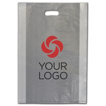 """Printed Clear Frosted Die-Cut Shoppers, 14 x 3 x 21"""""""