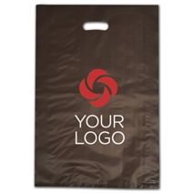 """Printed Espresso Frosted Die-Cut Shoppers, 14 x 3 x 21"""""""