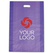 """Printed Purple Frosted Die-Cut Shoppers, 14 x 3 x 21"""""""
