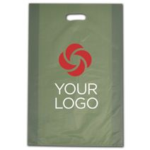 """Printed Sage Frosted Die-Cut Shoppers, 14 x 3 x 21"""""""
