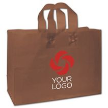 """Printed Espresso Frosted Flex-Loop Shoppers, 16 x 6 x 12"""""""