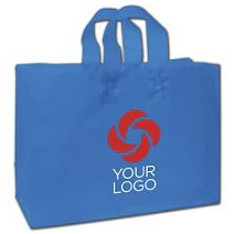 """Printed Ocean Blue Frosted Flex-Loop Shoppers, 16x6x12"""""""