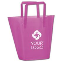 Printed Hot Pink Frosted High-Density Trapezoid Shoppers