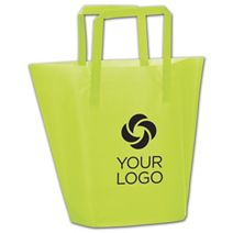 Printed Lime Frosted High-Density Trapezoid Shoppers