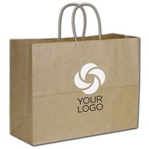 """Printed Recycled Kraft Paper Shoppers Vogue, 16x6x12 1/2"""""""