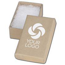 "Printed Natural Kraft Jewelry Boxes, 2 1/2x1 1/2x7/8"""