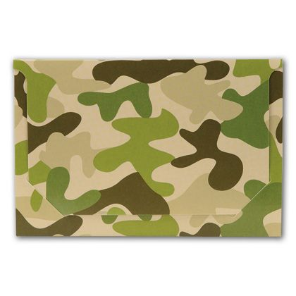 Camo Pop-Up Gift Card Folders, 5 x 3 3/8 x 1/8""