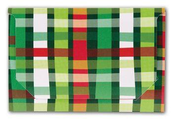 Holiday Plaid Pop-Up Gift Card Folders, 5 x 3 3/8 x 1/8