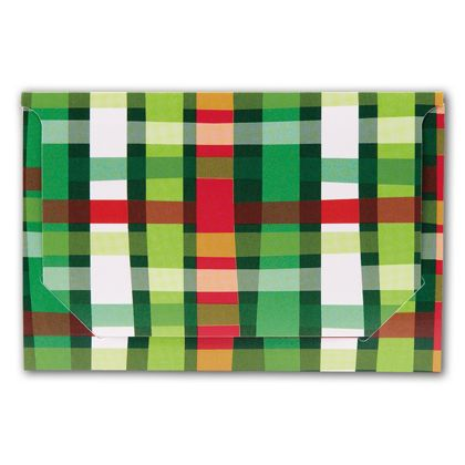 Holiday Plaid Pop-Up Gift Card Folders, 5 x 3 3/8 x 1/8""
